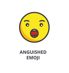 anguished emoji line icon sign vector image