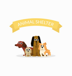 Animal shelter banner template dog help poster vector