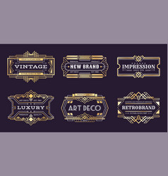 art deco labels vintage ornamental logos 1920s vector image