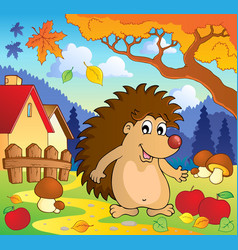 Autumn scene with hedgehog 1 vector