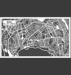 Baku azerbaijan city map in black and white color vector