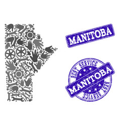 Best service collage of map of manitoba province vector