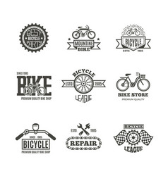 bike shop bicycle biking vintage labels vector image vector image