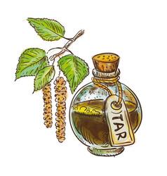Birch coal tar in bottle with twig watercolor vector