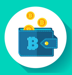 bitcoin wallet icon flat style cryptocurrency vector image