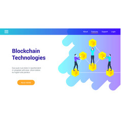 blockchain technologies lp template vector image