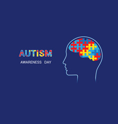 Brain-shaped puzzles autism awareness day blue vector