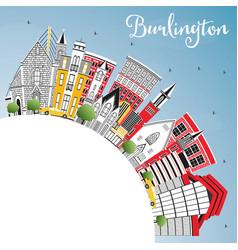 Burlington iowa city skyline with color buildings vector