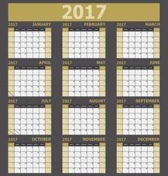 Calendar 2017 week starts on Sunday yellow tone vector image