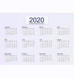 Calendar 2020 isolated on pink background vector