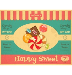 Candy Shop Retro Poster vector