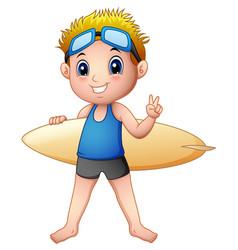 Cartoon boy with a surfboard vector