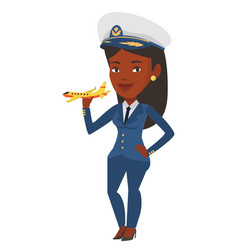 cheerful airline pilot with model of airplane vector image