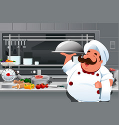 Chef in the kitchen vector