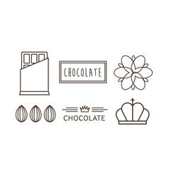 chocolate line icons set logo label badge or vector image