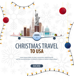 Christmas travel to usa new york winter travel vector