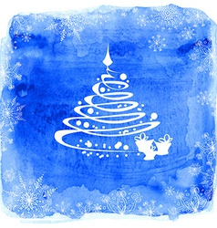 Christmas tree on a watercolor background vector image