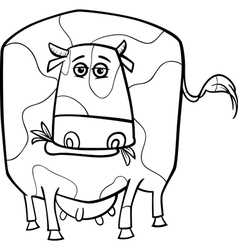 cow farm animal coloring page vector image