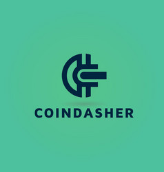 Crypto and bit coin logo design vector
