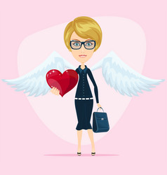 cute angel valentine greeting card vector image