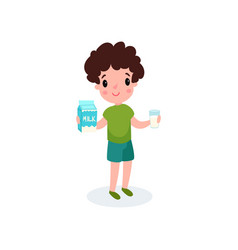 cute boy with glass and box of milk in his hands vector image