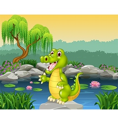 Cute crocodile presenting vector