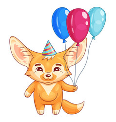 cute fennec fox in a party hat holds air-balloons vector image