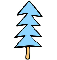 drawing of a christmas tree spruce or fir drawn vector image