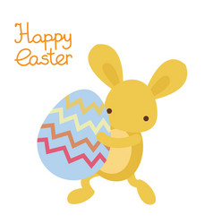 easter cute kawaii rabbit with easter egg vector image