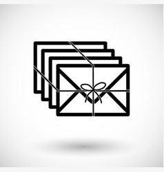 Envelopes with ribbon flat icon vector
