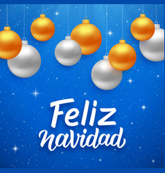 Feliz navidad seasons greetings on spanish vector