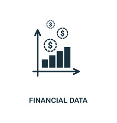 financial data icon line style icon design from vector image