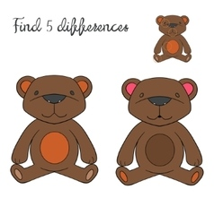 Find differences kids layout for game bear vector image