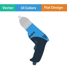 Flat design icon of electric drill vector image
