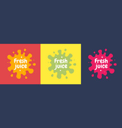 fresh fruit juice label icon orange lemon berry vector image