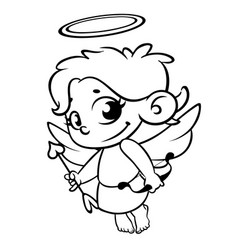 Funny cupid with bow and arrow vector