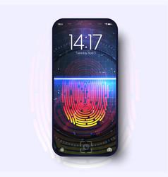 futuristic design smartphone with fingerprint vector image