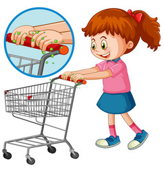 Girl touch shopping cart with germ vector