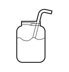 glass jar of juice with straw beverage fresh vector image