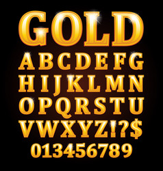 gold letters isolated on black background vector image