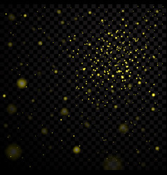 Gold stars black night sky on transparent vector