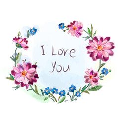 greeting card from a bouquet of flowers vector image