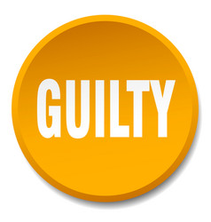 Guilty orange round flat isolated push button vector