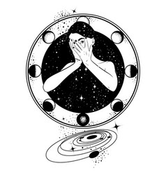 Hand drawn surreal woman with space instead of vector