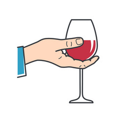 Hand hold wine male hand holding wine glass vector