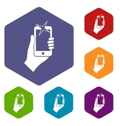 Hand photographed on mobile phone icons set vector