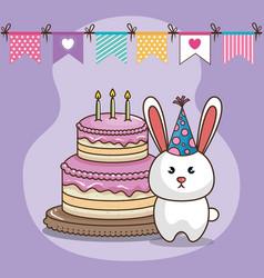 happy birthday card with cute bunny vector image