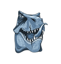 head drawing a tyrannosaurus with open mouth vector image