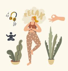 Healthy woman doing yoga asana or aerobics vector