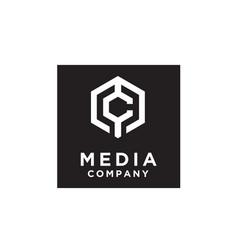 hexagon initial monogram cm mc logo design vector image
